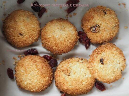 kokosowe ciasteczka z żurawiną